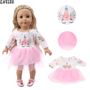 Doll Unicorn Mermaid Clothes 15 Sets Available Yarn Dress For 18 Inch American&43 Cm Baby New Born Doll Generation Girl`s Toy(China)