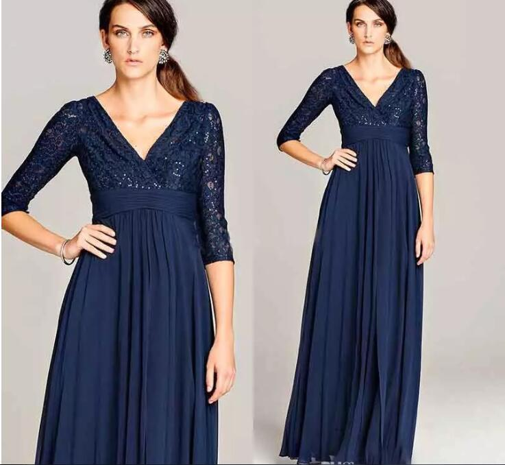 V-neck Long Evening Gowns With Three Quarter Sleeve Formal Women Prom Gowns 2018 Dark Navy Mother Of The Bride Lace Dresses