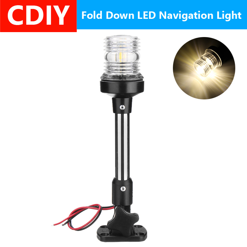 12V 3W LED Stainless Steel Stern//Anchor Boat Navigation Light  FOLD DOWN SS