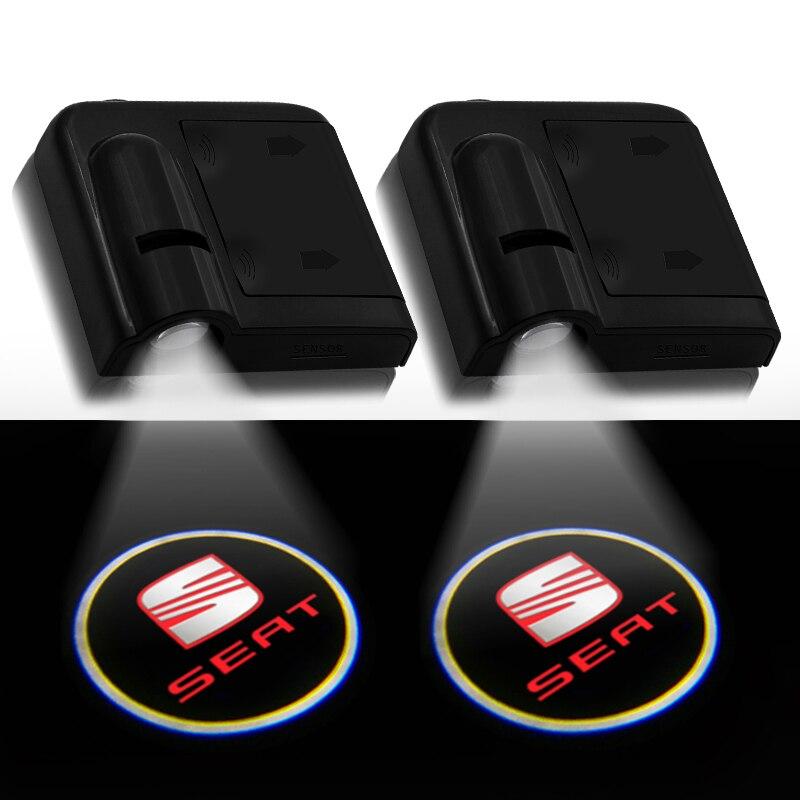 Беспроводной светодиодный лазерный проектор для дверей автомобиля, 2 шт., с логотипом ghost shadow lights, для Seat leon ibiza Alhambra Exeo Altea Arona Ateca
