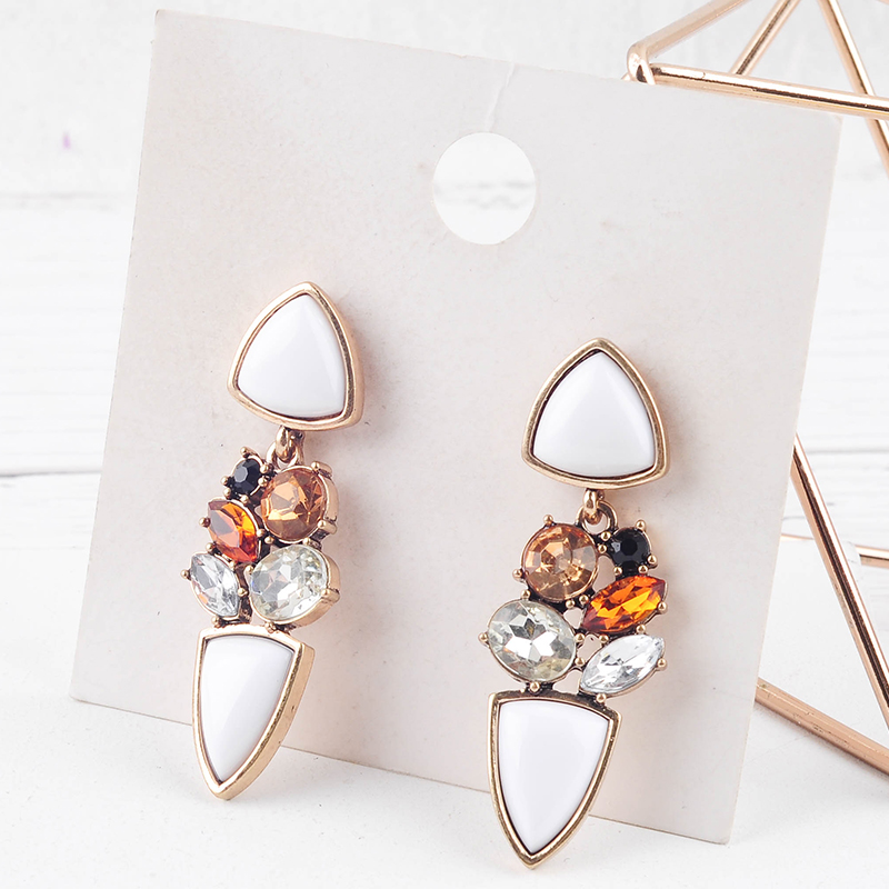Vintage Gold Color Drop Earrings White Acrylic Crystal Pendant Earrings For Women Fashion Jewelry New Arrival
