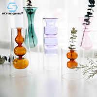 Strongwell nordic dupla camada de vidro manchado vaso de flores hidropônicas decoração para casa presente de natal decoração de mesa de casamento