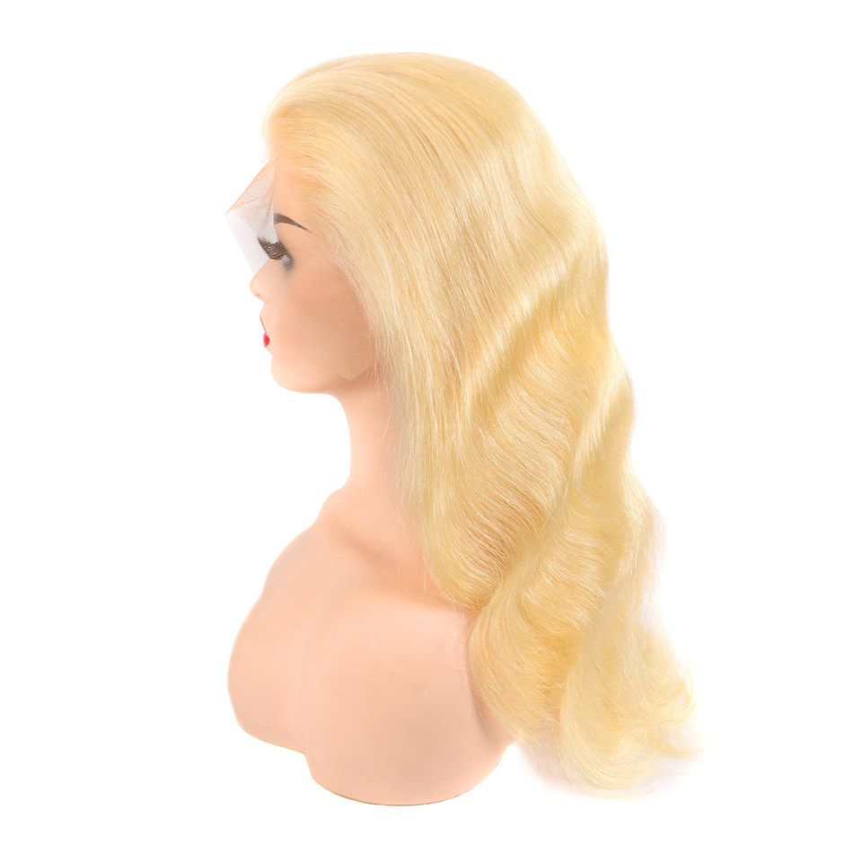 13x4 Long 150% Density Remy Brazillian Body Wave Lace Front Wig  613 Ombre Blonde Colored Preplucked Lace Wig Human Hair