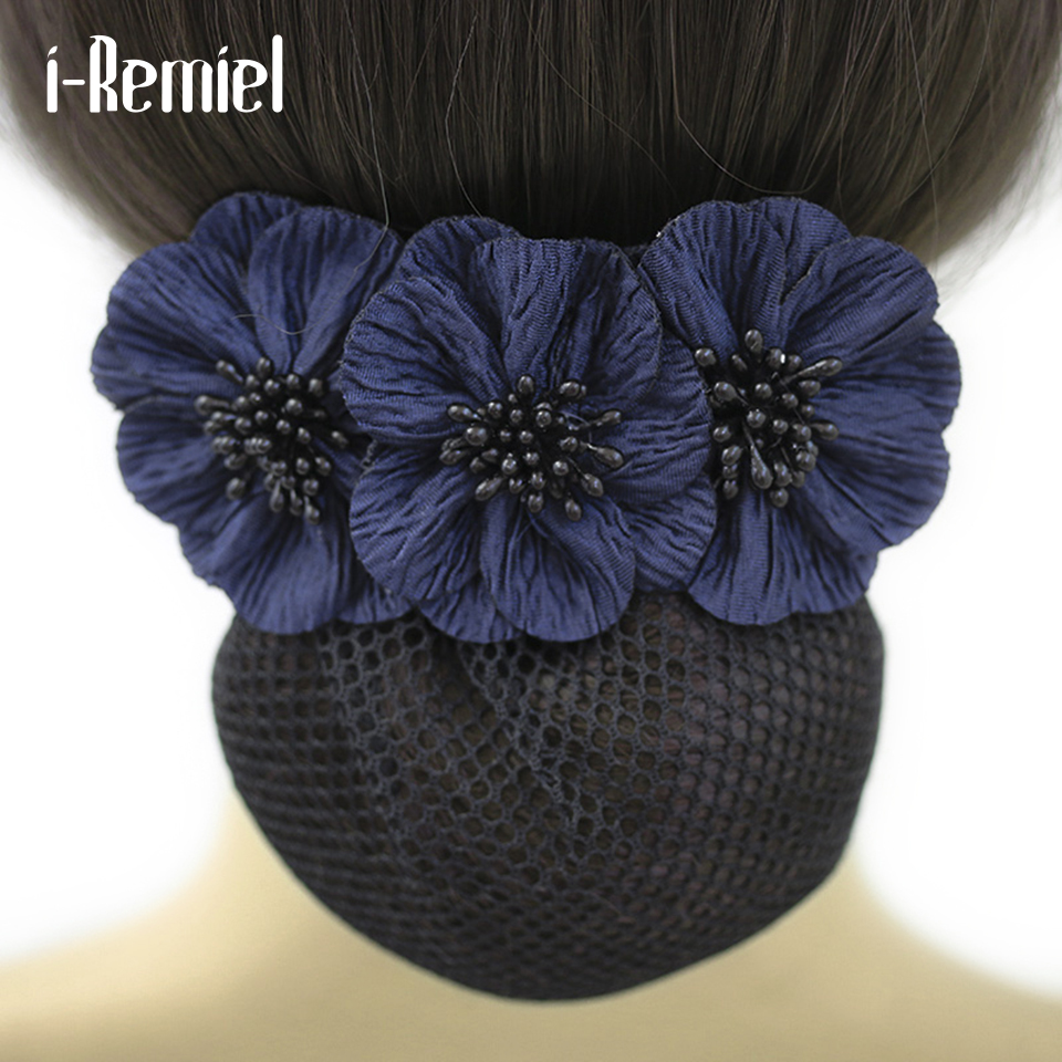 Ribbon Big Bow knot Hair Clip With Snood Net Bun Cover Women Lady accessories