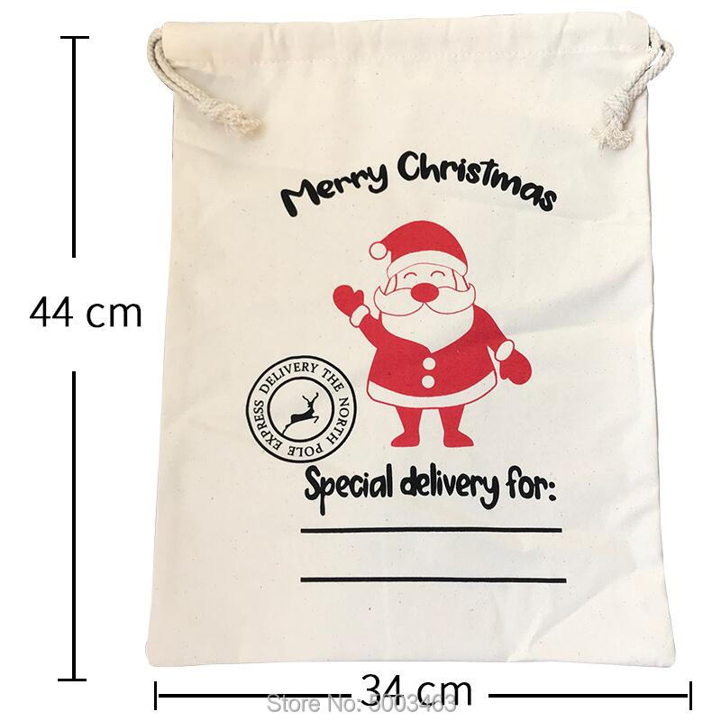 1PC Christmas Candy Bag Customized Santa Sacks Canvas Drawstring Bag Small Santa Claus Party Decoration Christmas Gift Bag
