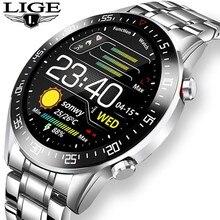 LIGE 2021 New Men's Smart Watch Men's Business Sports Waterproof Watch Heart Rate Monitoring Full Screen Touch Men's Smart Watch