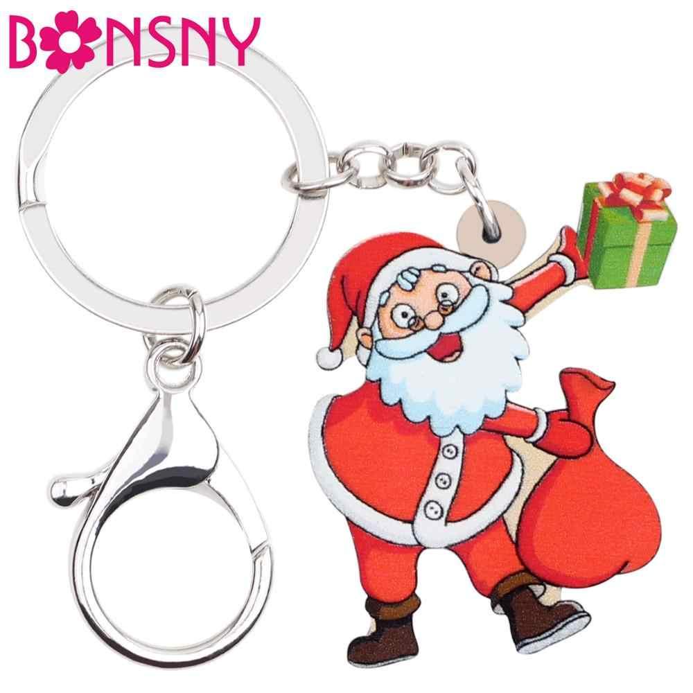 Bonsny акриловые Рождественский подарок Санта-Клауса сумка коробка брелок для ключей Кольцо Автомобильный кошелек сумка брелки Мультяшные Подвески подарок для девочки подростка