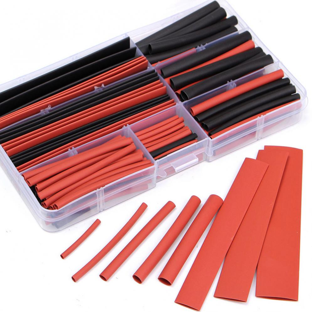 Terminals 150pcs 2 : 1 Polyolefin H-type Heat Shrink Shrinking Tubing Tube Red+Black Connectors Terminals Welding Hardware