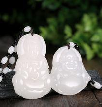 Натуральный белый нефрит ювелирные изделия Гуаньинь и Будда