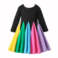 Платье для девочек из 100% хлопка; детская одежда; платье с длинными рукавами и единорогом для девочек; сезон весна-осень; платье с вышитыми ка...