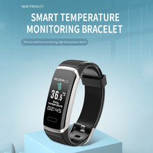 Smart Bracelet Single Touch Temperature Monitoring Heart Rate Blood Pressure Fitness Tracker Sports Wristband for Men Women(China)