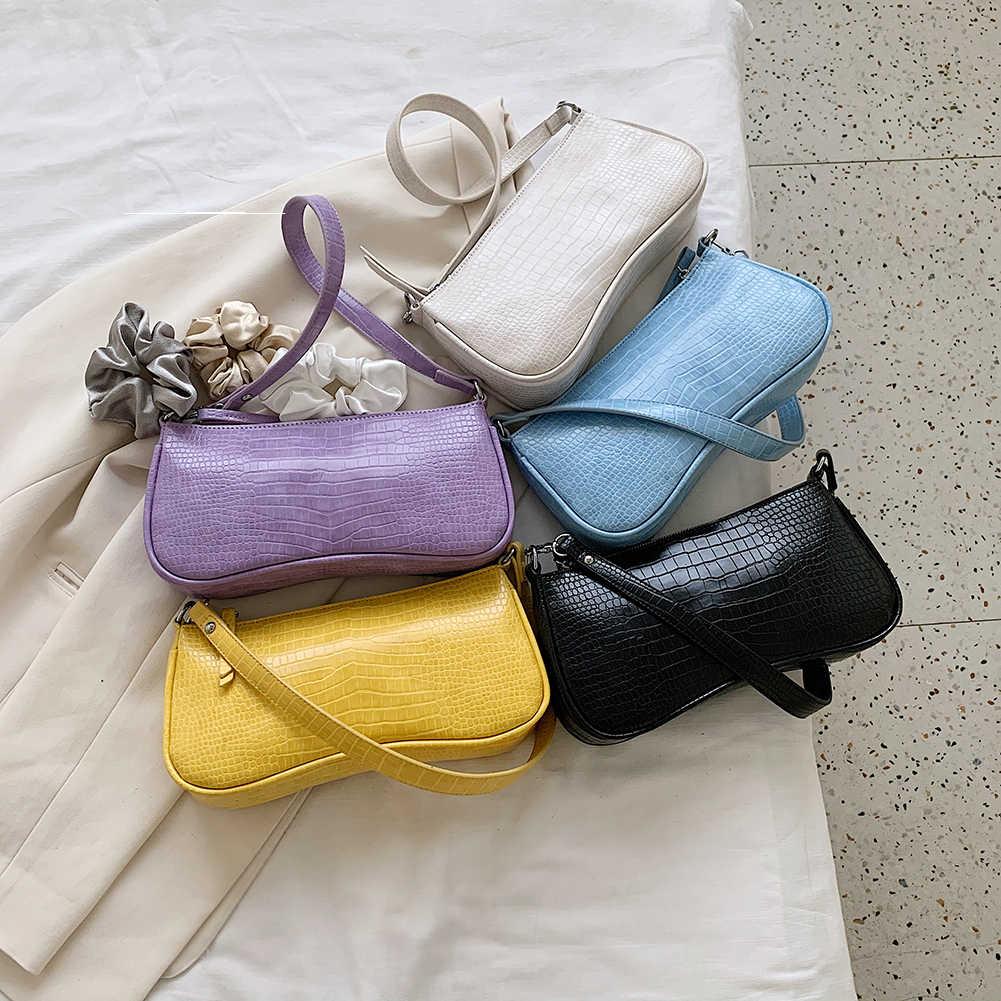 Rétro Alligator modèle femmes sacs à main de messager sac en cuir PU rue décontracté solide fermeture éclair sacs à bandoulière Bolsa Mujer 2020 nouveau