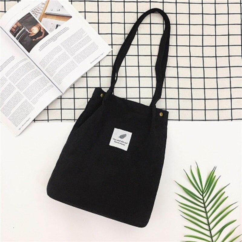LOOZYKIT, Женские однотонные вельветовые сумки на плечо, сумка для покупок, большая посылка, сумки через плечо, кошельки, Повседневная сумка для женщин, сумка для книг - Цвет: black