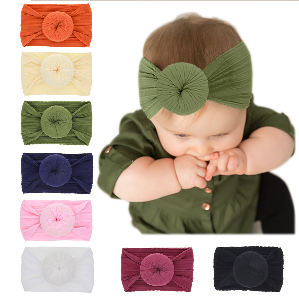 Vintage Donut Hairband For Baby Accessories Kid Girl Nylon Headbands Toddler Bow Cross Pattern HairBand Baby Bow Turban Headwrap
