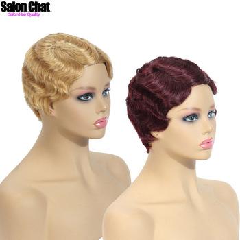 Krótkie Remy peruki z ludzkich włosów dla czarnych kobiet głęboka fala mama peruka ludzkie włosy przedłużanie włosów i peruki peruki ludzkie pełna maszyna peruka tanie i dobre opinie SalonChat = 10 Remy włosy = 20 Średnia wielkość