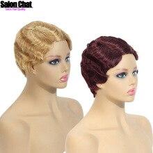 Wig Human-Hair Full-Machine-Made Hair-Wig Blond Short Remy Natural Women's