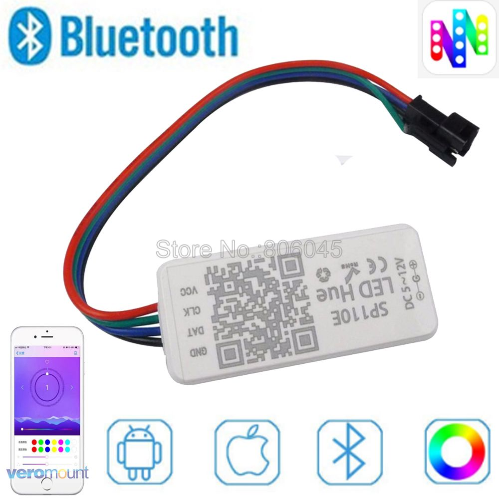 SP110E Bluetooth Pixel light Controller WS2811 WS2812B ws2812 dimmer SK6812 RGB RGBW APA102 WS2801 pixels Led Strip IOS Android image