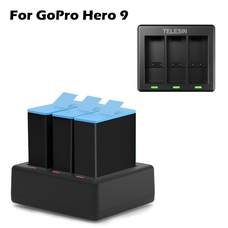 GoPro 9 3-way Battery Charger Smart Fast Charging Box With LED Light Type C Data Cable For GoPro Hero 9 Sport Camera Accessories