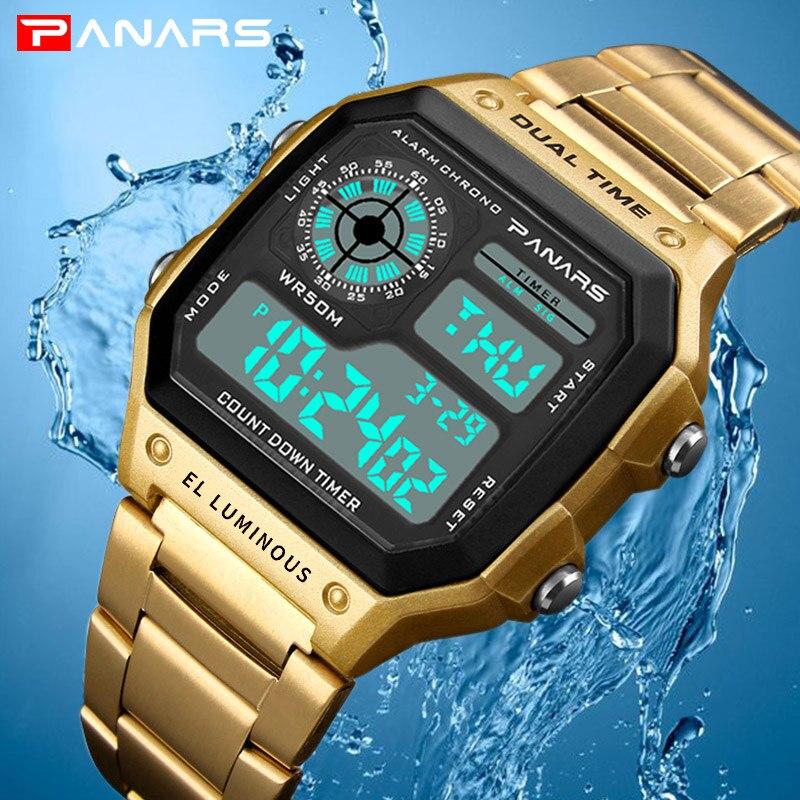 PANARS Relógio Inoxidável Relógio Cronógrafo Dos Homens Do Esporte Relógios Digitais À Prova D' Água de Negócios Relógios de Pulso Masculino Relógio Relogio masculino