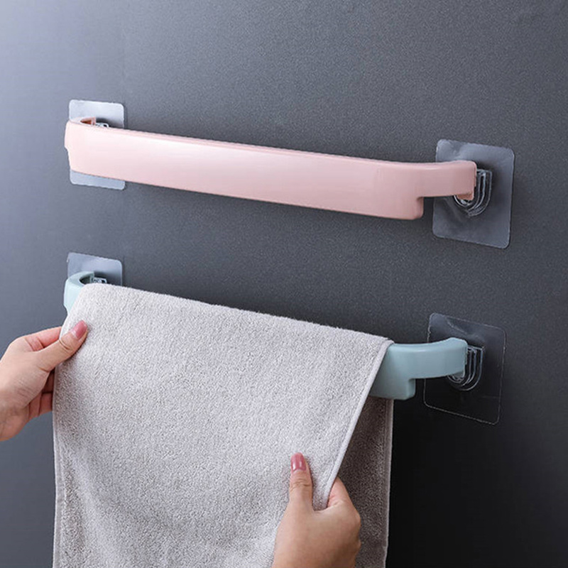 OUYXR Plastic Towel Holder Wall Mounted Towel Rack Single Towel Bar Shelf Self-adhesive Toilet Roll Paper Hanging Hanger