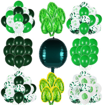 Green Balloon Animal Palm Leaf Foil Ballons Woodland Party Baloons Jungle Safari Birthday Party Decorations Kids Baby Shower jungle party green latex balloons woodland animal palm leaf foil balloons safari party baloons birthday party decor baby shower