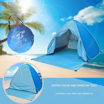 Beach Tent Pop Up Automatic Open Tent Family Ultralight Folding Tent Tourist Fish Camping 타프 Anti-UV Fully Sun Shade 2-5 Persons new large throw tent outdoor 2 3persons automatic speed open throwing pop up windproof waterproof beach camping tent large space