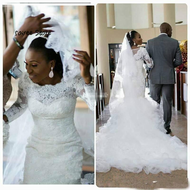 Elegant Mermaid Wedding Gowns 2018 Country Garden Ruffles African Wedding Dress Long Sleeve O Neck Button Back Women Bridal Gown