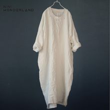 NINI WONDERLAND Autumn Plus Size Dress 2021 Spring Women Casual Long Robe Loose Big Size Cotton Linen Dress Lady Vintage Dresses