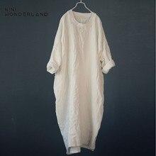 NINI WONDERLAND Autumn Plus Size Dress 2021 Spring Women Casual Long Robe Loose Big Size Cotton Linen Dress Lady Vintage Dresses