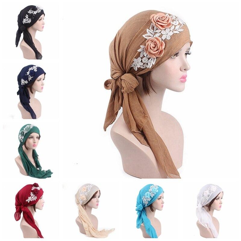 OIONINOS 2019 NEW Fashion Women Flower Muslim Embroidery Cancer Chemo Hat Beanie Scarf Turban Head Wrap Cap F5