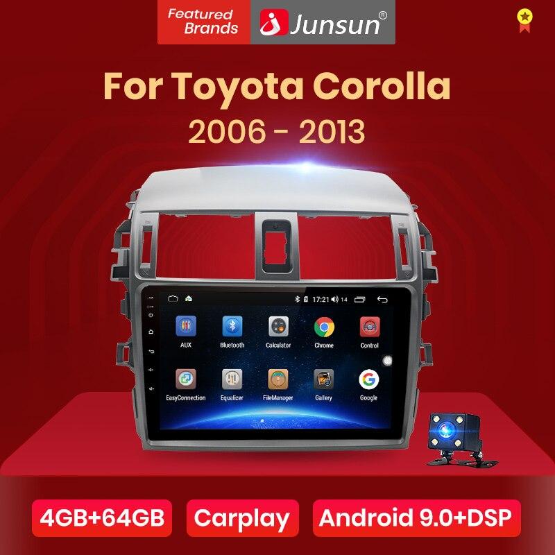 Junsun V1pro 4G+64G CarPlay Android 10 DSP For Toyota Corolla E140 E150 2007-2013 Car Radio Multimedia Player GPS RDS 2 din dvd(China)