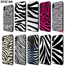 IYICAO zebra stripe Design Soft Black Silicone Case for iPhone 11 Pro Xr Xs Max X or 10 8 7 6 6S Plus 5 5S SE цена