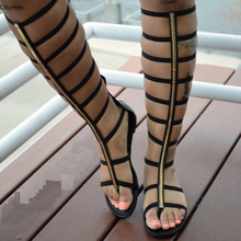 Gladiator Sandals Women Beach-Shoes Open-Toe Flat Black Bohemian Plus-Size Olomm