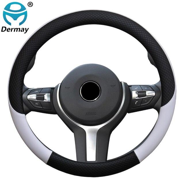 """100% DERMAY 37/38cm оплетка на руль искусственная кожа, оплётка на руль, чехол на руль автомобиля колпаки на колеса 14 15"""" для руля"""