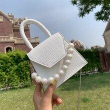 Oeak – sacs à bandoulière en cuir PU pour femmes, poignée perlée, Design Super mini, motif pierre, sac à main de voyage, 2021