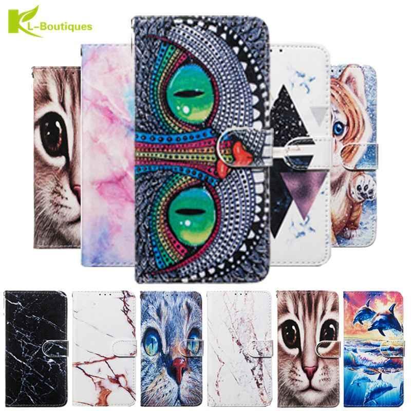 Para huawei y5 2018 caso de couro para coque huawei y5 lite y 5 y5 prime 2018 capa dos desenhos animados bonito coruja flip carteira telefone casos