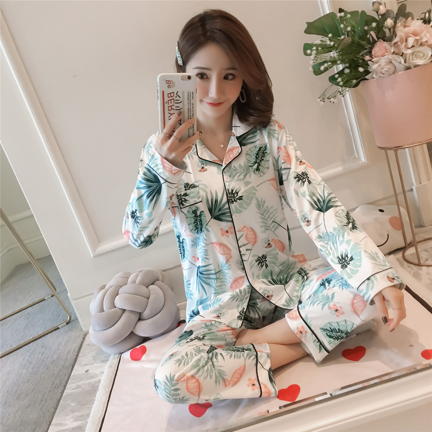 2701 # Flamingo Green Leaf Lje Cardigan Long Sleeve Pajamas Homewear Set Series