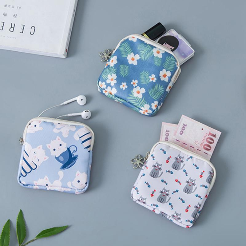 Girls Diaper Sanitary Napkin Storage Bags Canvas Bag Sanitary Pads Package Coin Purse Jewelry Organizer Credit Card Pouch Case