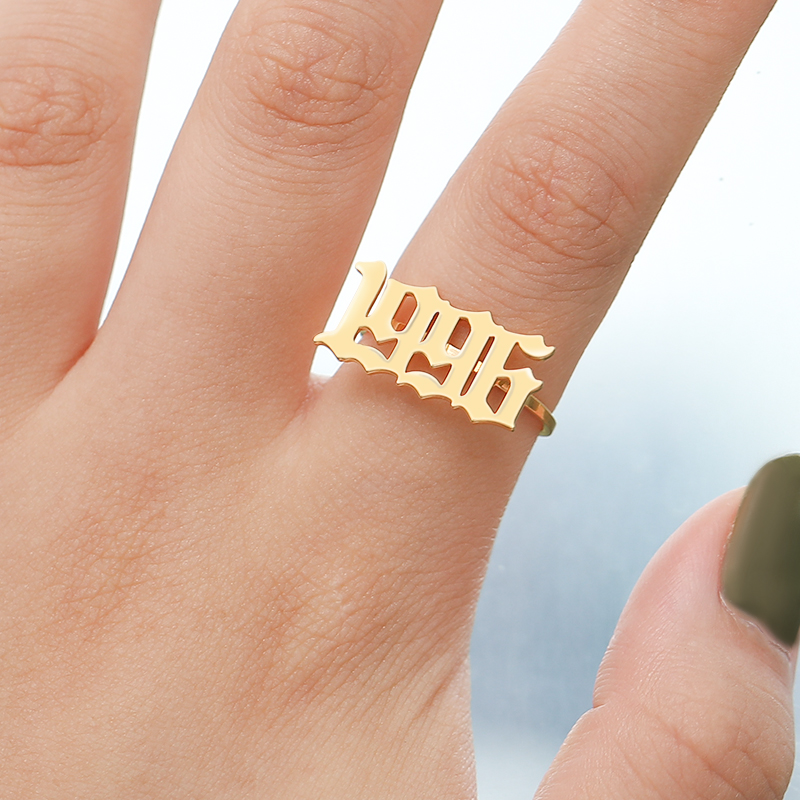 Old English Number Ring Anillos Mujer Jewelry Year 1993 1994 1995 1996 1997 1998 1999 Stainless Steel Gold Rings for Men Jewelry