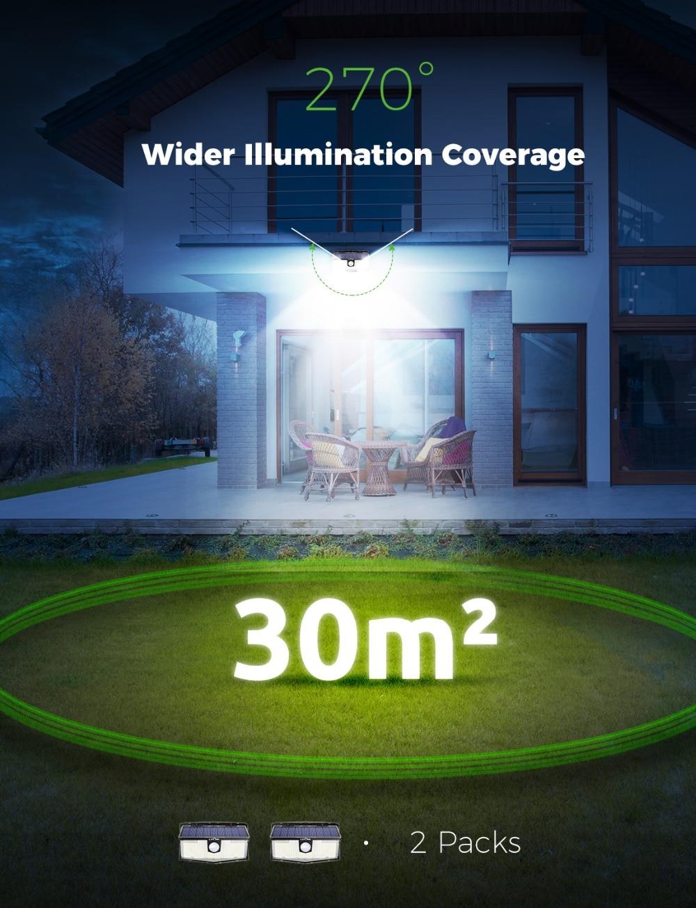 2 Pack LITOM 300 LED Solar Lights Garden Upgraded PIR Motion Sensor Lights IP67 Waterproof 3 Intelligent Modes Solar Wall Lights
