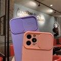 Жидкий Силикон раздвижной корпус для iphone 12 11 Pro Max 12 мини X XR XS 6 7 8 плюс с двухтактными защитный чехол для объектива для iphone 7