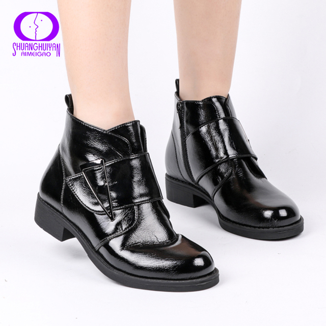 AIMEIGAO printemps automne noir fermeture éclair imperméable bottines femmes hiver en cuir verni chaussure femmes chaud en peluche à lintérieur dames bottes