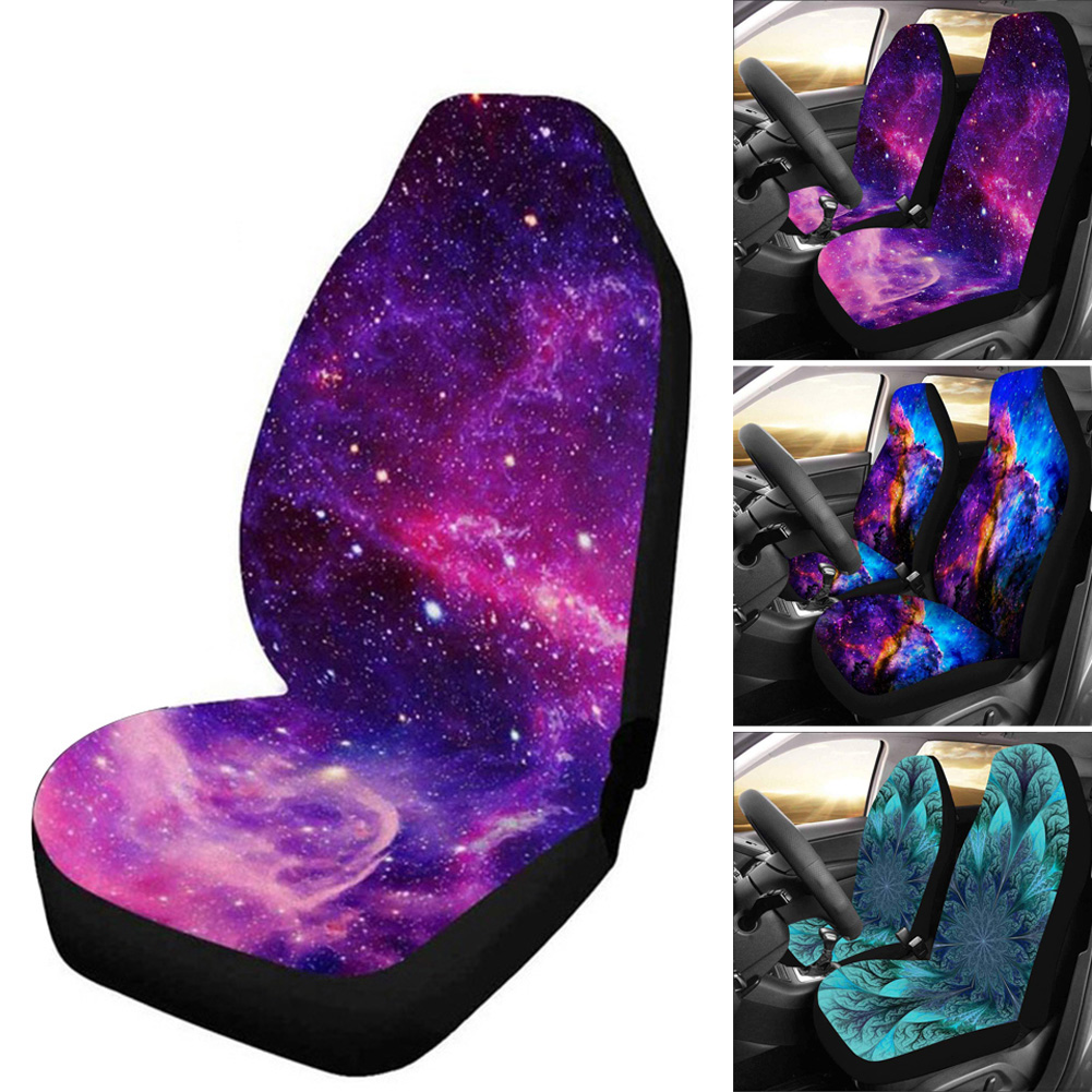 New 1/2pcs Starry Sky Print Car Seat Cover Full Wrap Coverage Dirt Resistant Universal Car Seat Cover