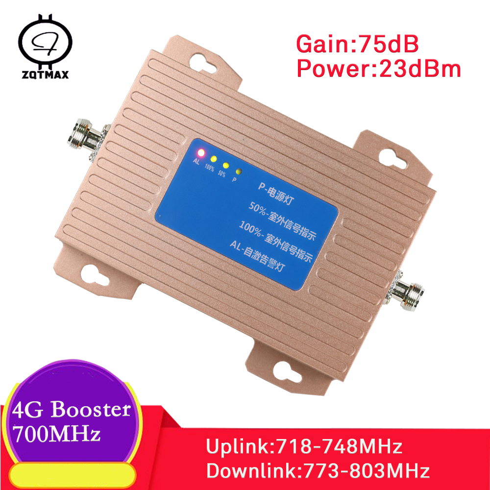 ZQTMAX Lte 4g Repeater 700 MHz Mobile Signal Booster Cellular Amplifier 65dB Used In USA Canada + North American