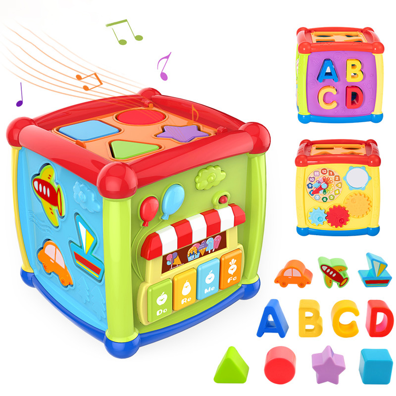 Multifunctional Musical Toys Toddler Baby Box Music Activity Cube Gear Clock Geometric Blocks Sorting Educational Initiation Toy