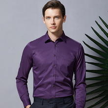 Camisas masculinas de manga longa 2019 roxo camisas formais para homens fino ajuste de negócios estiramento anti rugas trabalho feito com ferramentas profissional blusa masculina