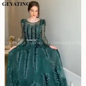 Image 4 - Emerald Green Velvet Long Sleeves Dubai Evening Dress 2020 Luxury Crystal A Line Arabic Formal Dresses Muslim Prom Party Gowns