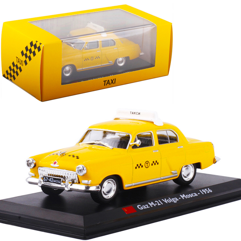 <font><b>1:43</b></font> Static 1956 Moscow Taxi <font><b>Diecast</b></font> Alloy Classic Car Model Simulation <font><b>Vintage</b></font> Gaz M-21 Volga Cab Alloy Matel Kids Toy Vehicle image