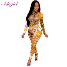 Adogirl Sexy leopard print vintage long sleeve night party club jumpsuit women autumn casual mock neck rompers overalls outfits vonda women leopard print dress 2020 autumn sexy split club party maxi dresses casual long sleeve o neck vestidos blouse 5xl