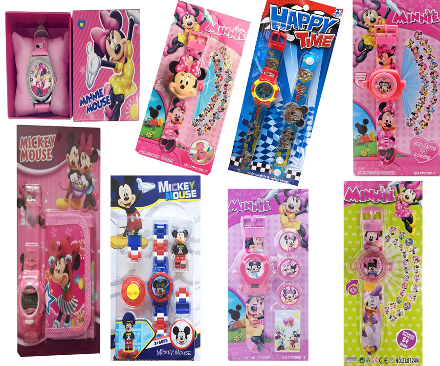Disney Mickey Minnie Watches Electronic Colorful Source Child Watch Girls Birthday Party Kids Gift Clock Childrens Wrist